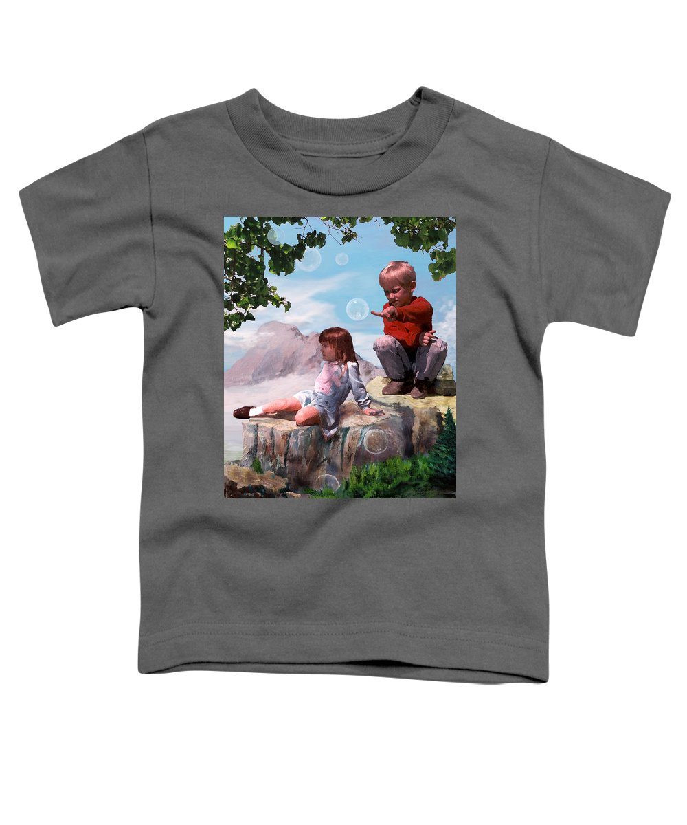 Landscape Toddler T-Shirt featuring the painting Mount Innocence by Steve Karol