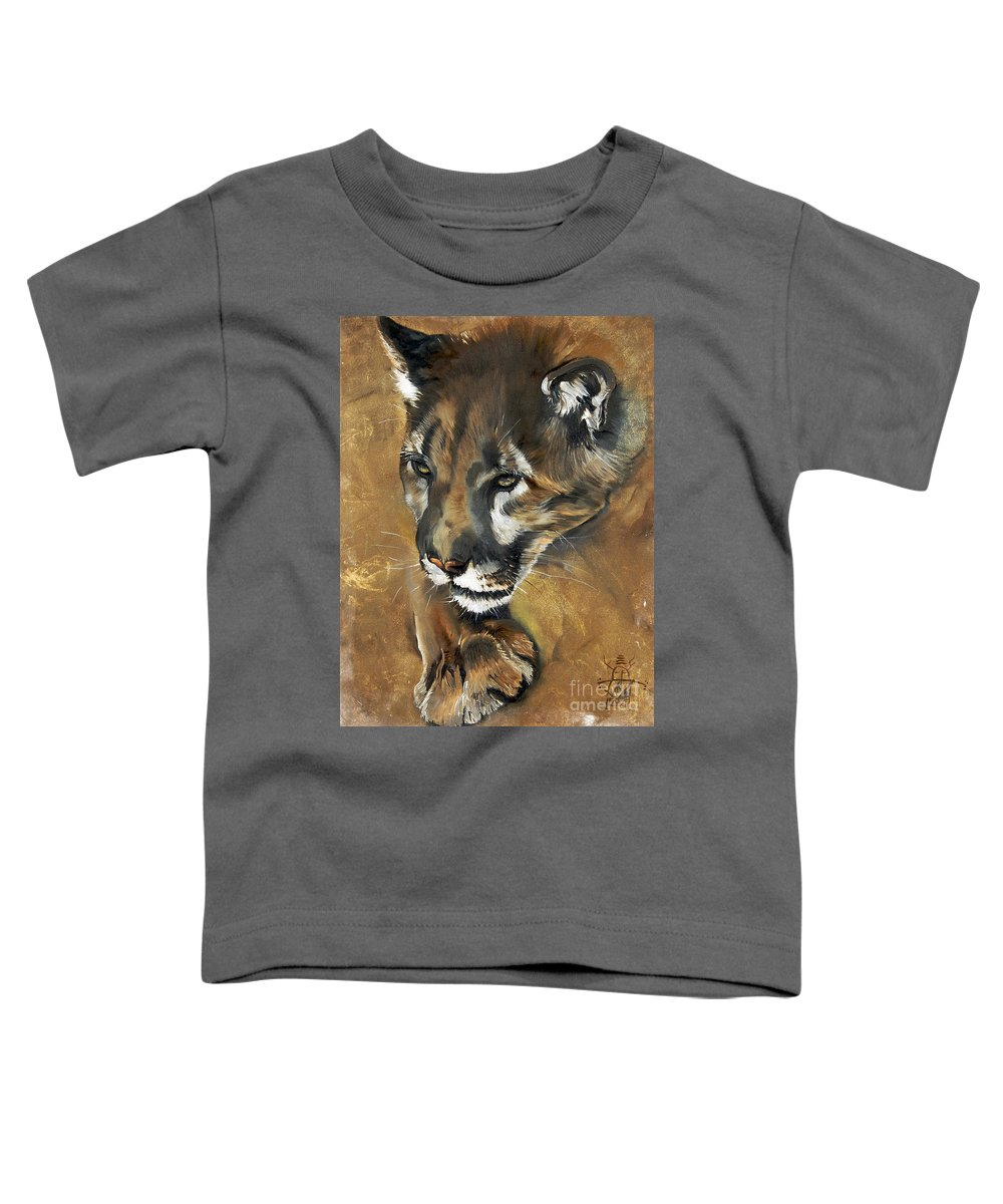 Southwest Art Toddler T-Shirt featuring the painting Mountain Lion - Guardian Of The North by J W Baker