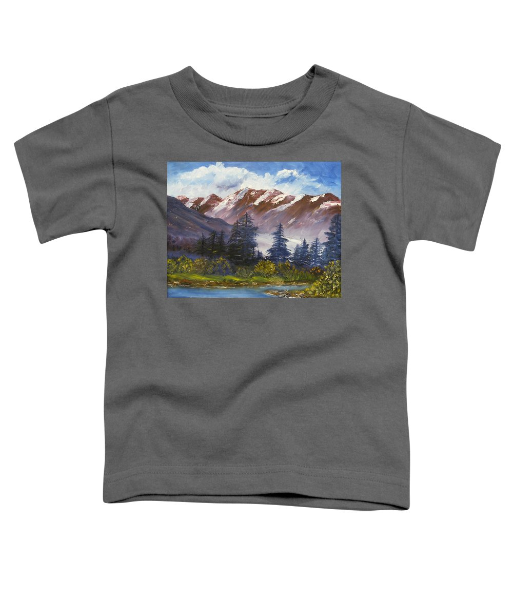 Oil Painting Toddler T-Shirt featuring the painting Mountains I by Lessandra Grimley