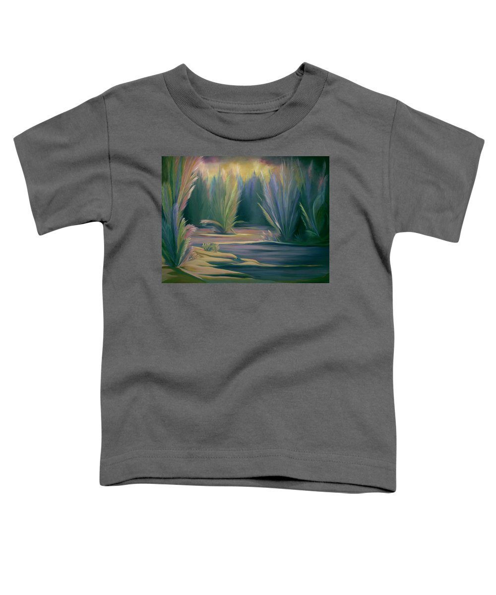Feathers Toddler T-Shirt featuring the painting Mural Field Of Feathers by Nancy Griswold