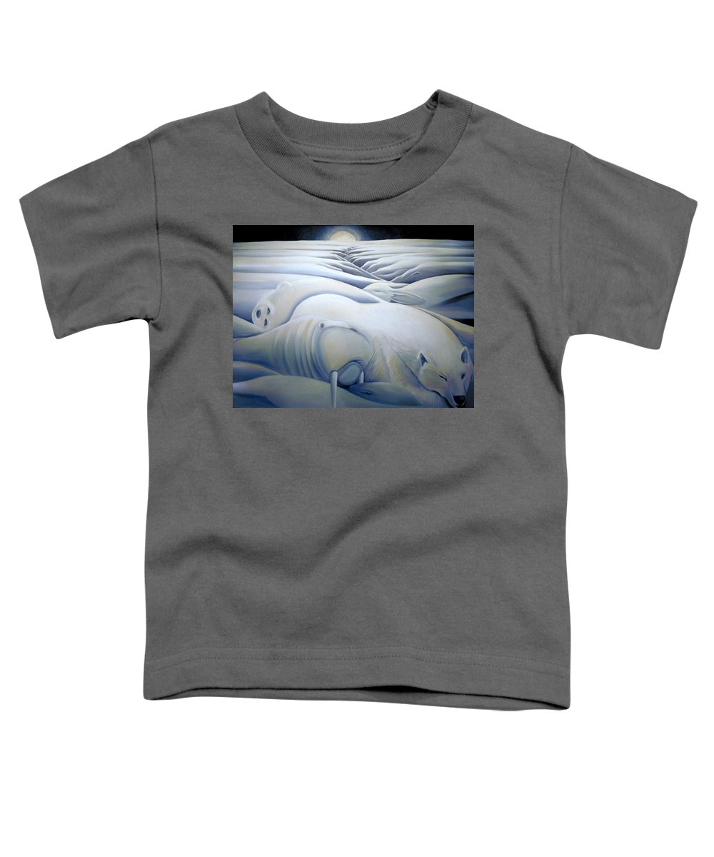 Mural Toddler T-Shirt featuring the painting Mural Winters Embracing Crevice by Nancy Griswold