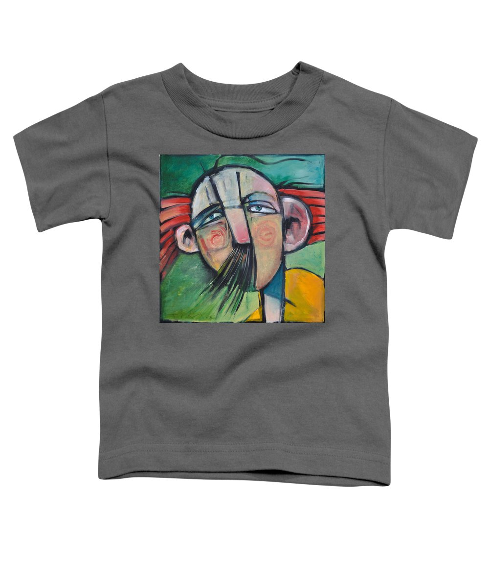 Humor Toddler T-Shirt featuring the painting Mustached Man In Wind by Tim Nyberg
