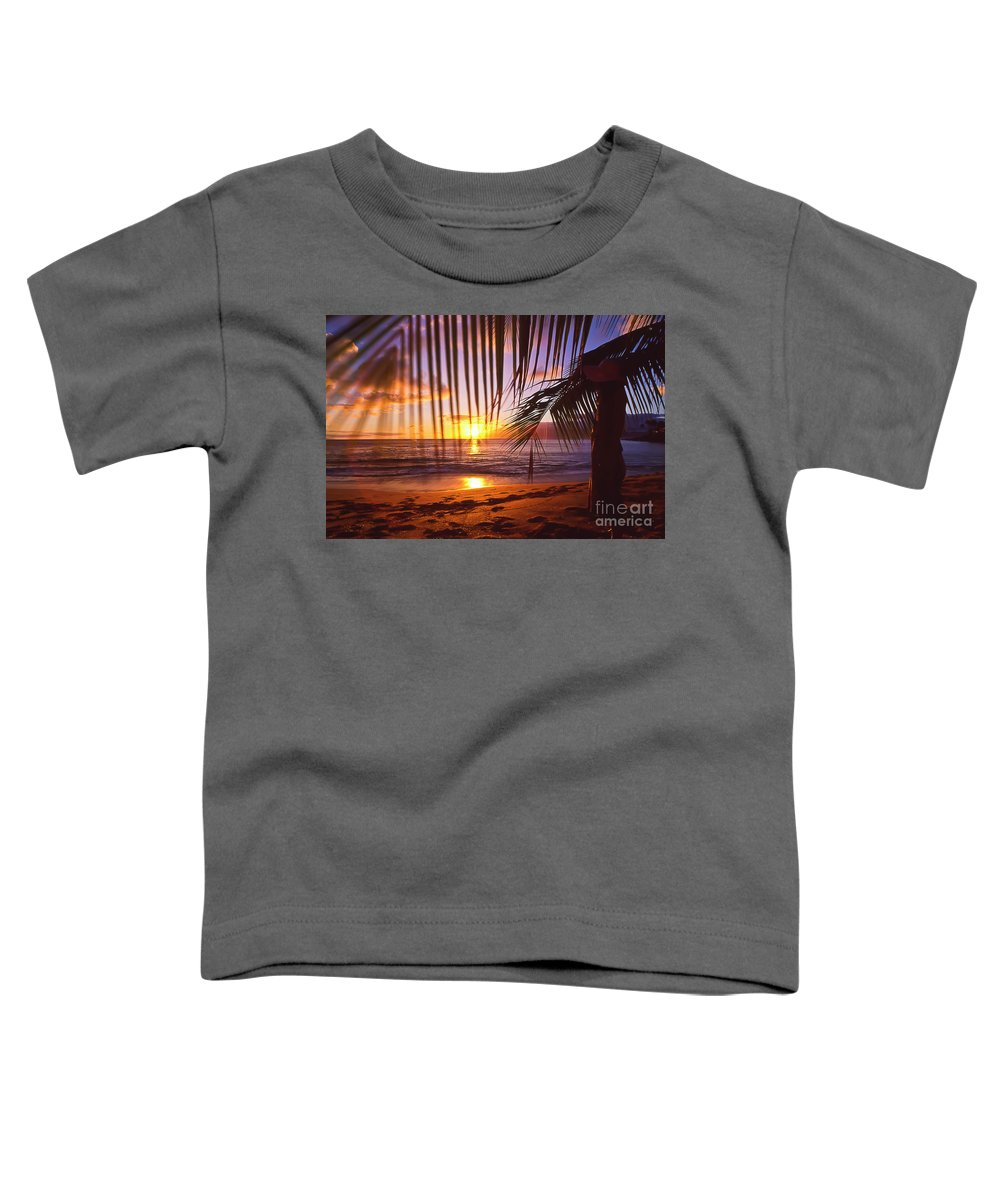 Sunset Toddler T-Shirt featuring the photograph Napili Bay Sunset Maui Hawaii by Jim Cazel
