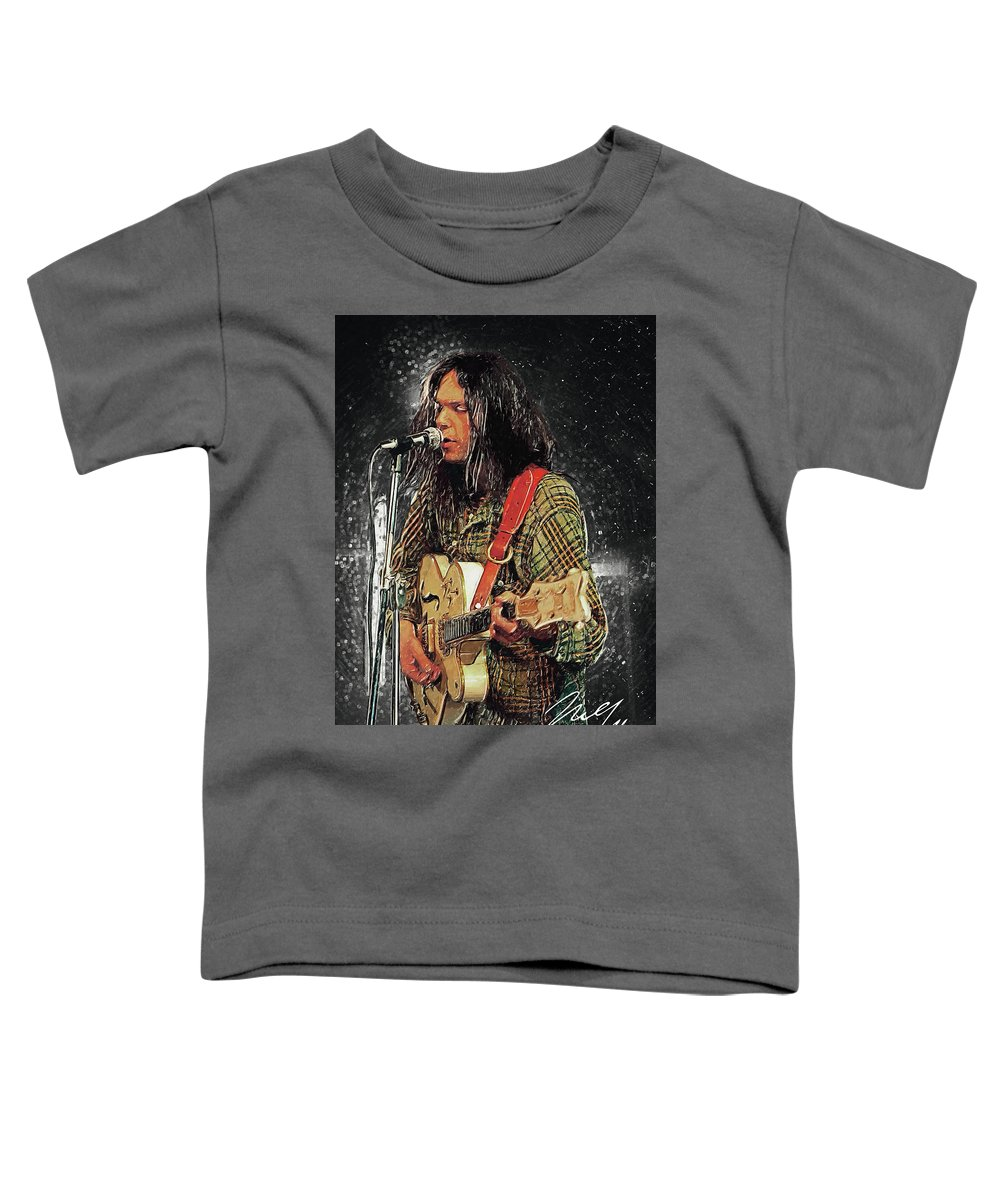Neil Young Toddler T-Shirt featuring the digital art Neil Young by Zapista OU