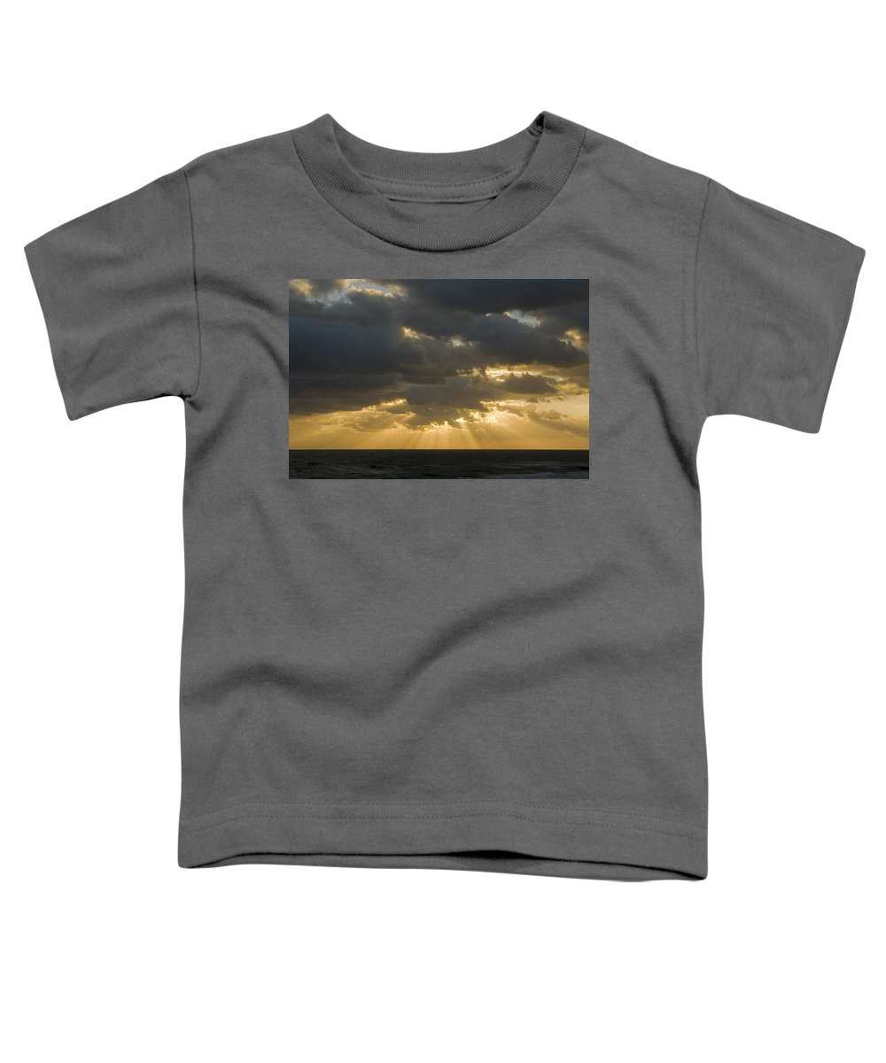 Ocean Sunset Sun Cloud Clouds Ray Rays Beam Beams Bright Wave Waves Water Sea Beach Golden Nature Toddler T-Shirt featuring the photograph New Beginning by Andrei Shliakhau