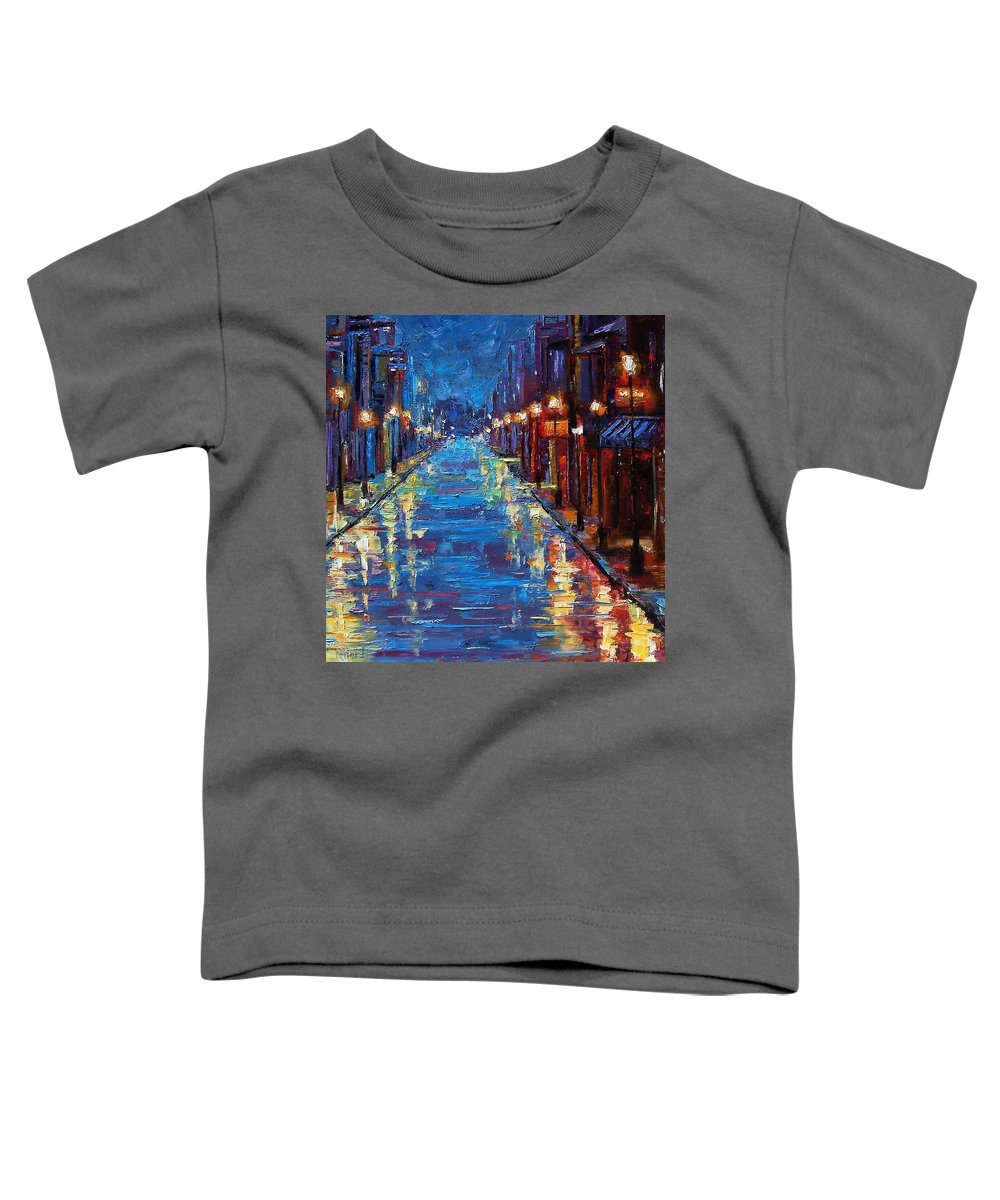 Cityscape Toddler T-Shirt featuring the painting New Orleans Bourbon Street by Debra Hurd