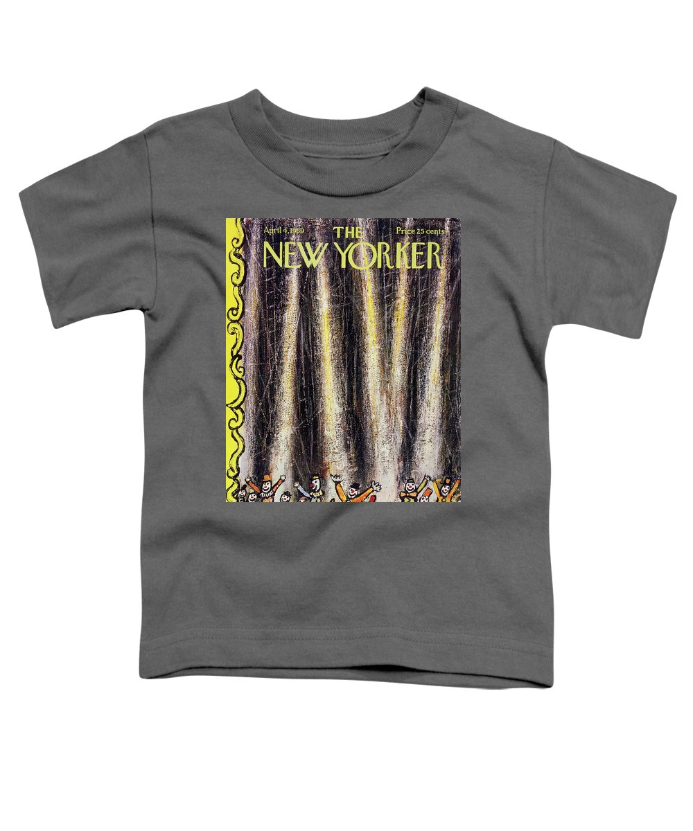 Clowns Toddler T-Shirt featuring the painting New Yorker April 4 1959 by Abe Birnbaum