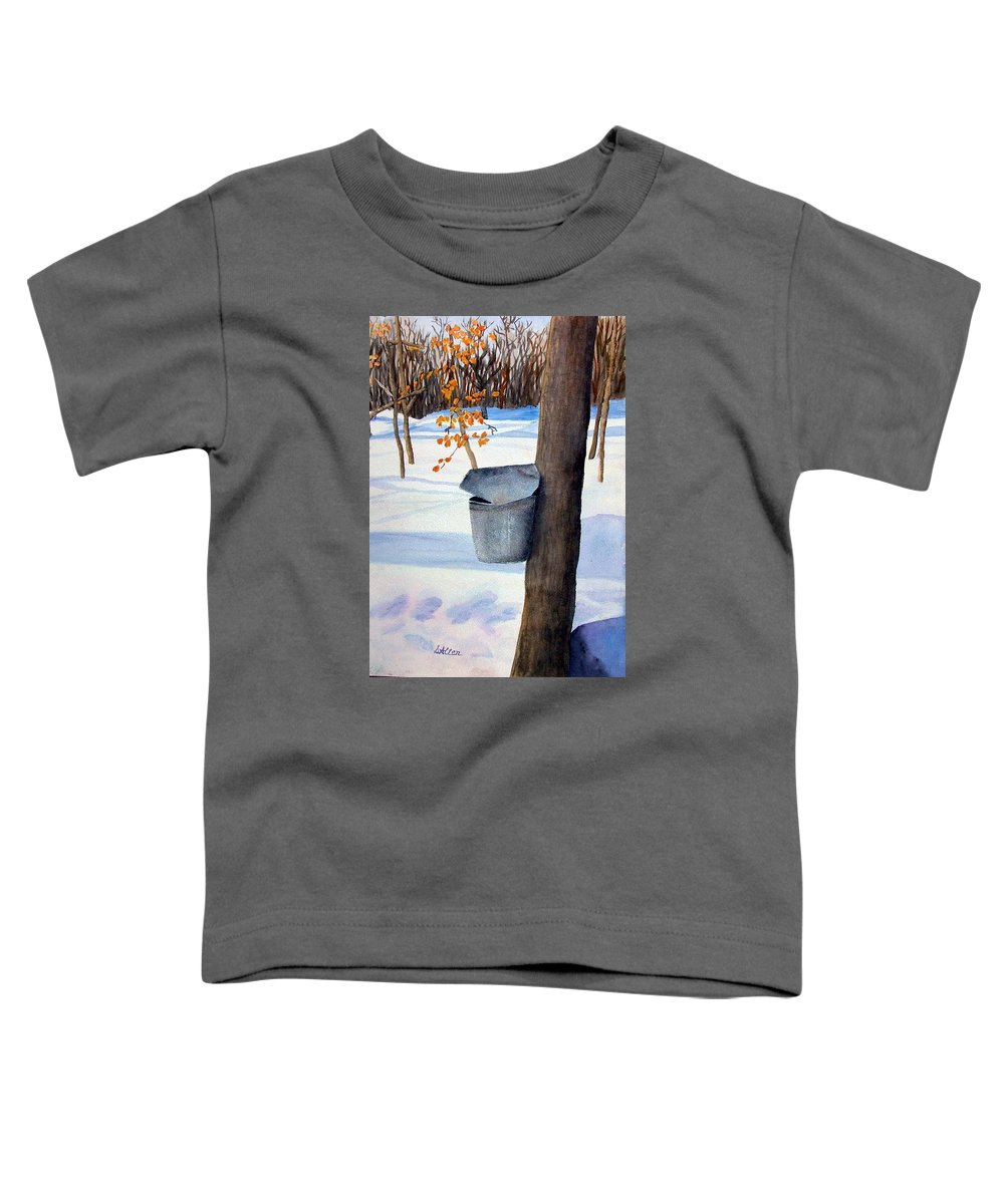 Sap Bucket. Maple Sugaring Toddler T-Shirt featuring the painting Nh Goldmine by Sharon E Allen