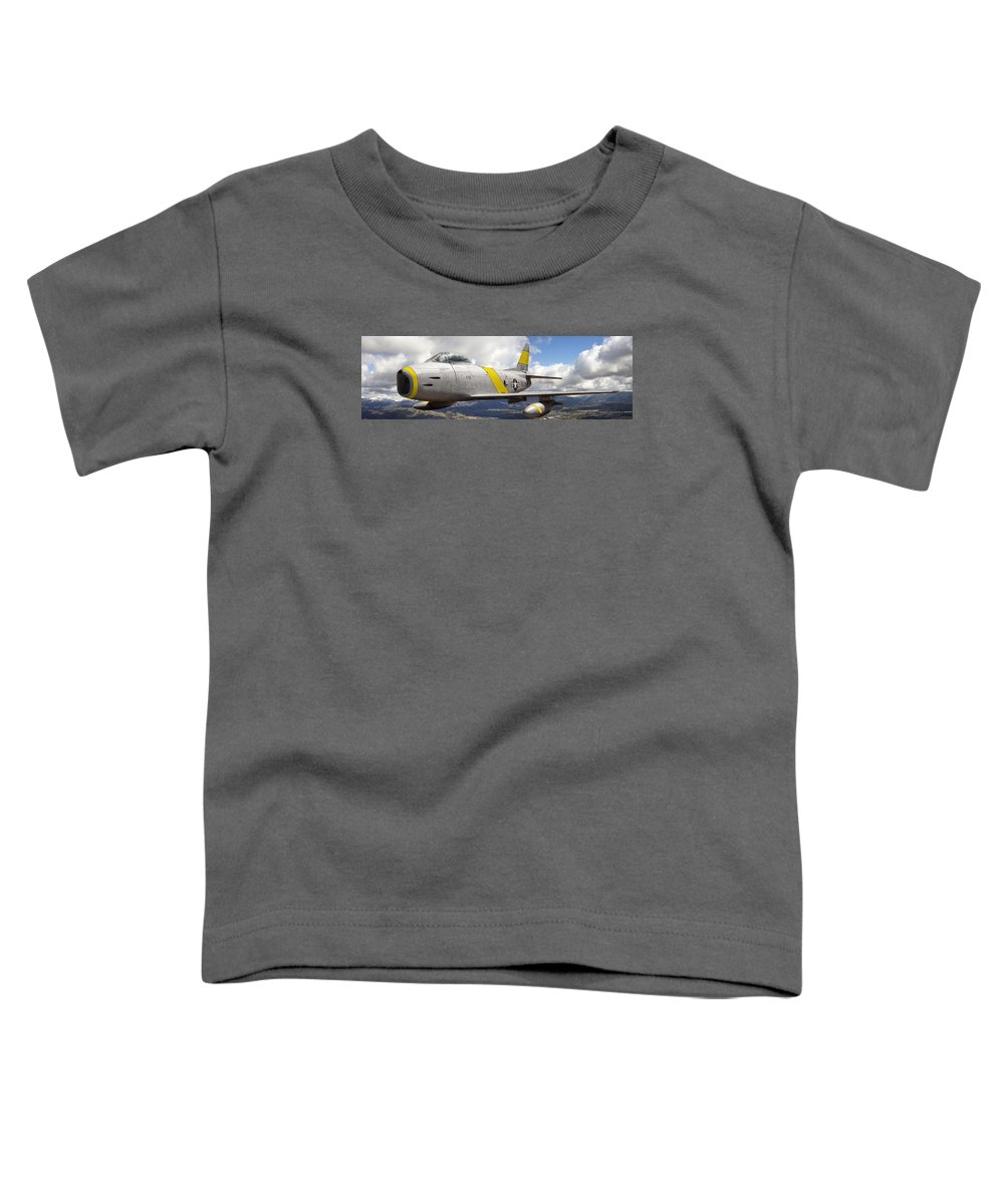F-86 Sabre Toddler T-Shirt featuring the photograph North American F-86 Sabre by Larry McManus