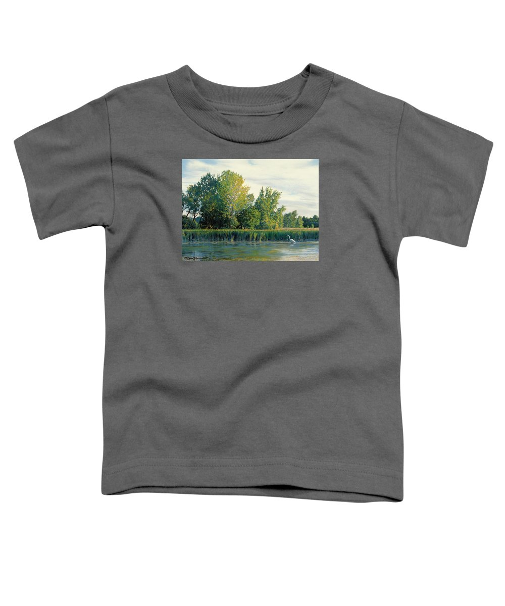 Great Egret Toddler T-Shirt featuring the drawing North Of The Grade-great Egret by Bruce Morrison
