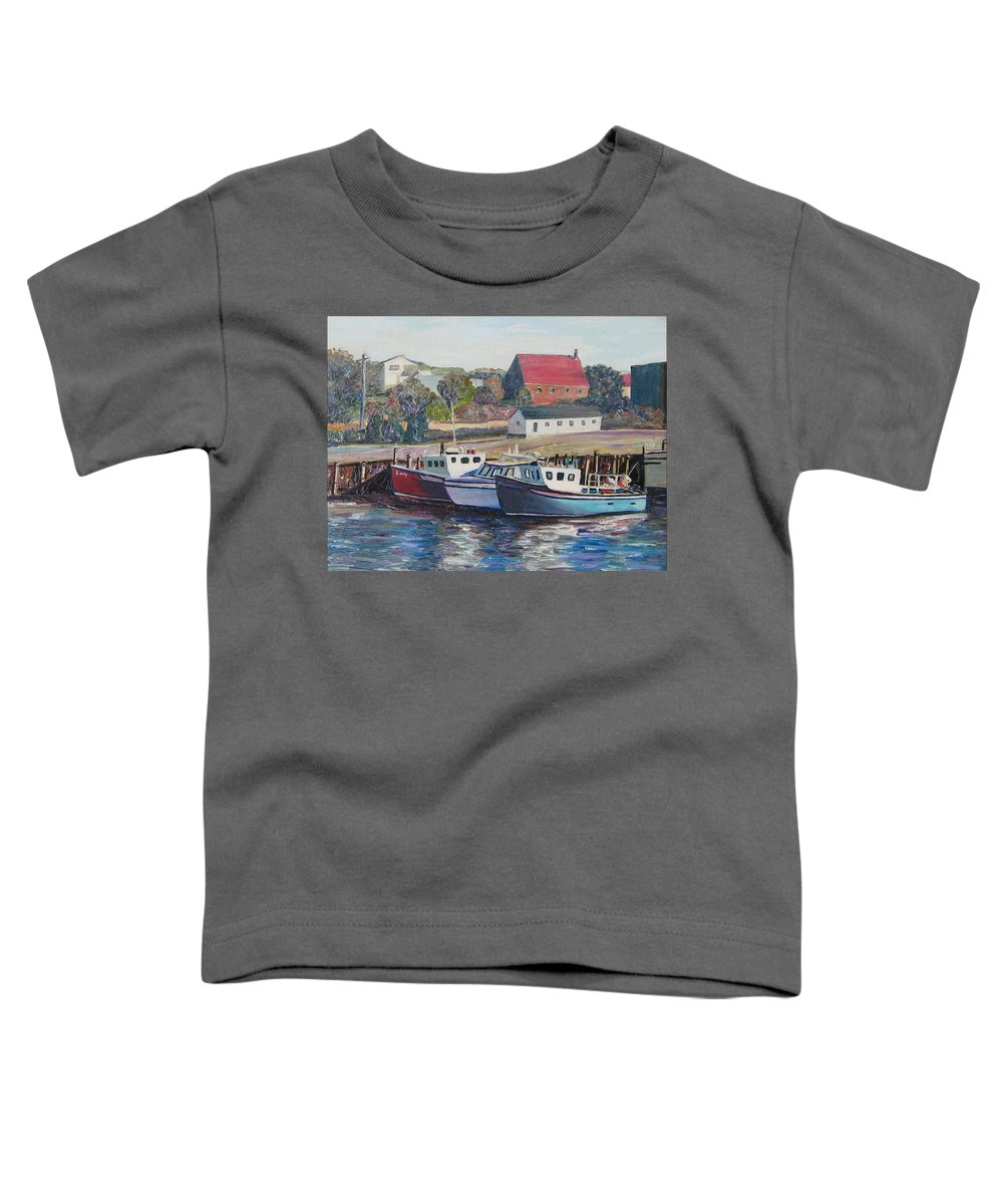 Nova Scotia Toddler T-Shirt featuring the painting Nova Scotia Boats by Richard Nowak