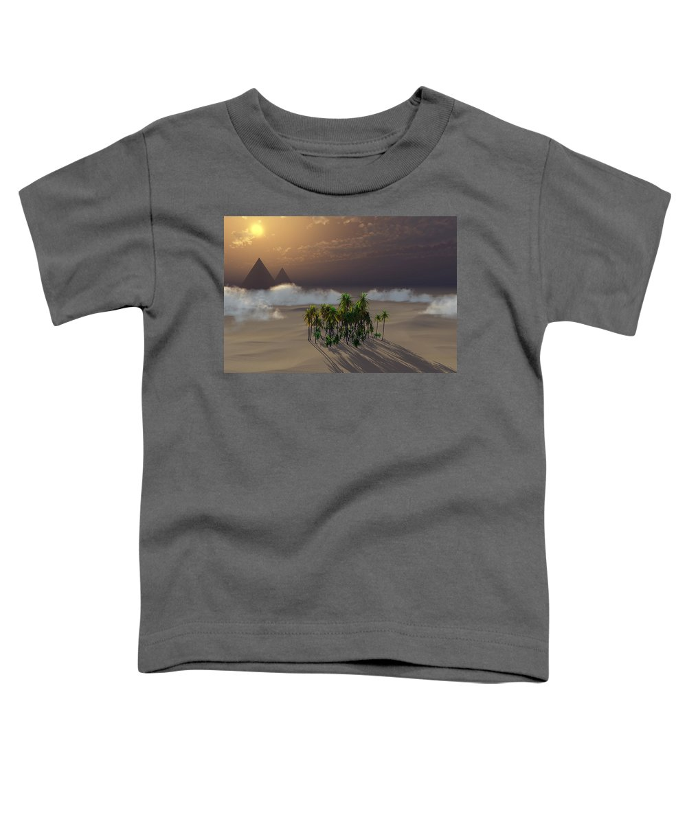 Deserts Toddler T-Shirt featuring the digital art Oasis by Richard Rizzo