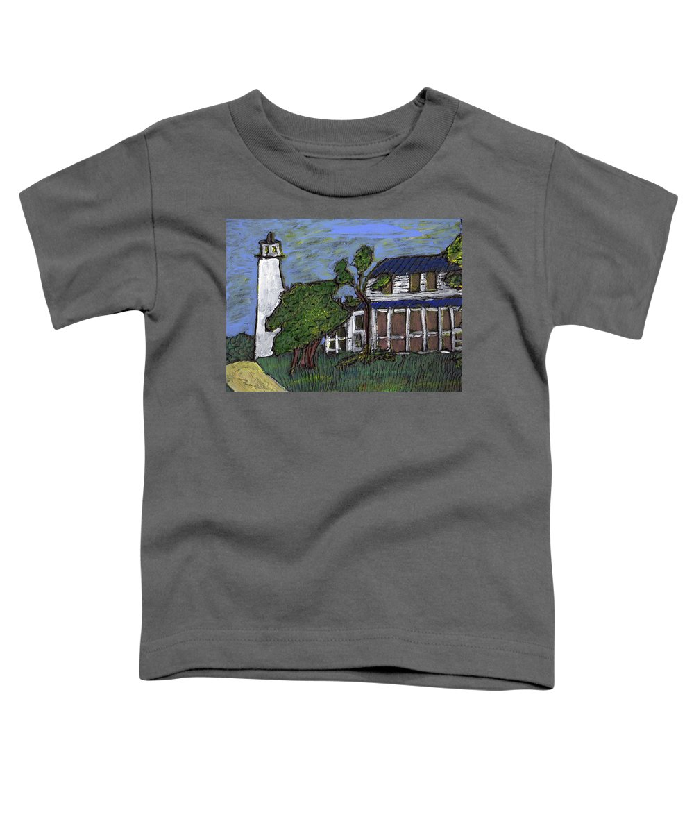Light House Toddler T-Shirt featuring the painting Ocracoke Island Light House by Wayne Potrafka