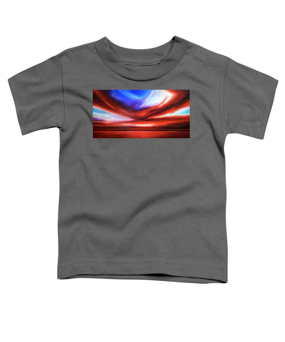 Sunrise; Sunset; Power; Glory; Cloudscape; Skyscape; Purple; Red; Blue; Stunning; Landscape; James C. Hill; James Christopher Hill; Jameshillgallery.com; Ocean; Lakes; Storm; Tornado; Lightning Toddler T-Shirt featuring the painting October Sky V by James Christopher Hill