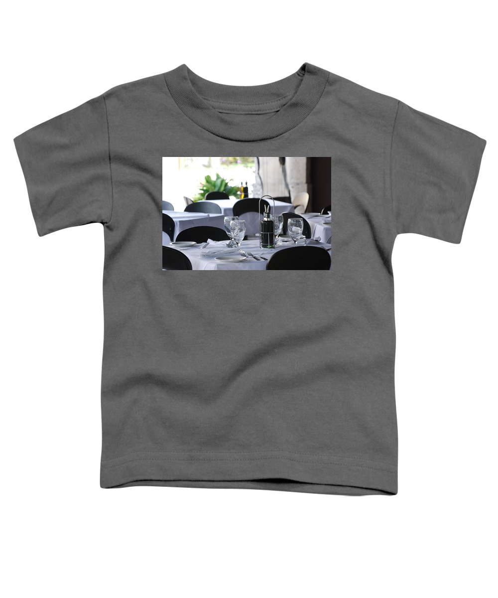 Tables Toddler T-Shirt featuring the photograph Oils And Glass At Dinner by Rob Hans