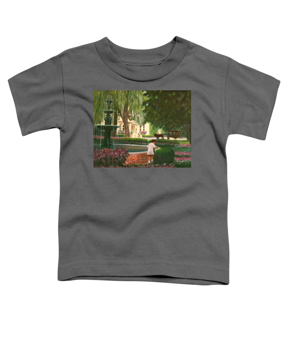 Savannah; Fountain; Child; House Toddler T-Shirt featuring the painting Old And Young Of Savannah by Ben Kiger