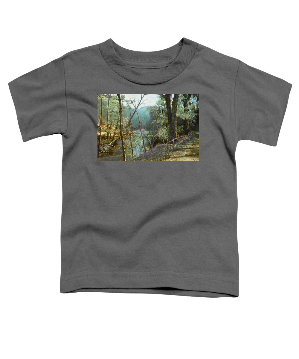 River; Trees; Landscape Toddler T-Shirt featuring the painting Old Man River by Ben Kiger