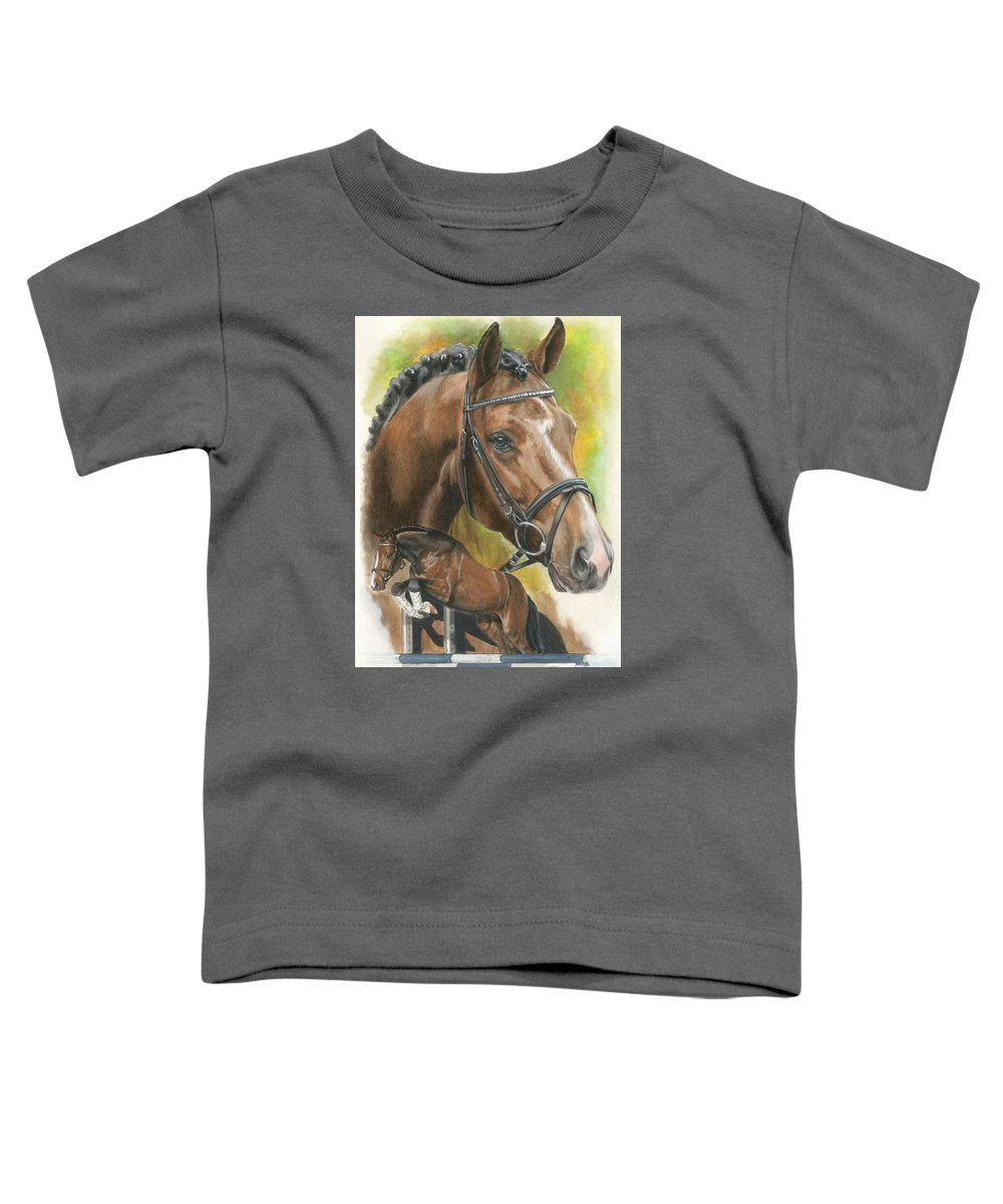 Hunter Jumper Toddler T-Shirt featuring the mixed media Oldenberg by Barbara Keith