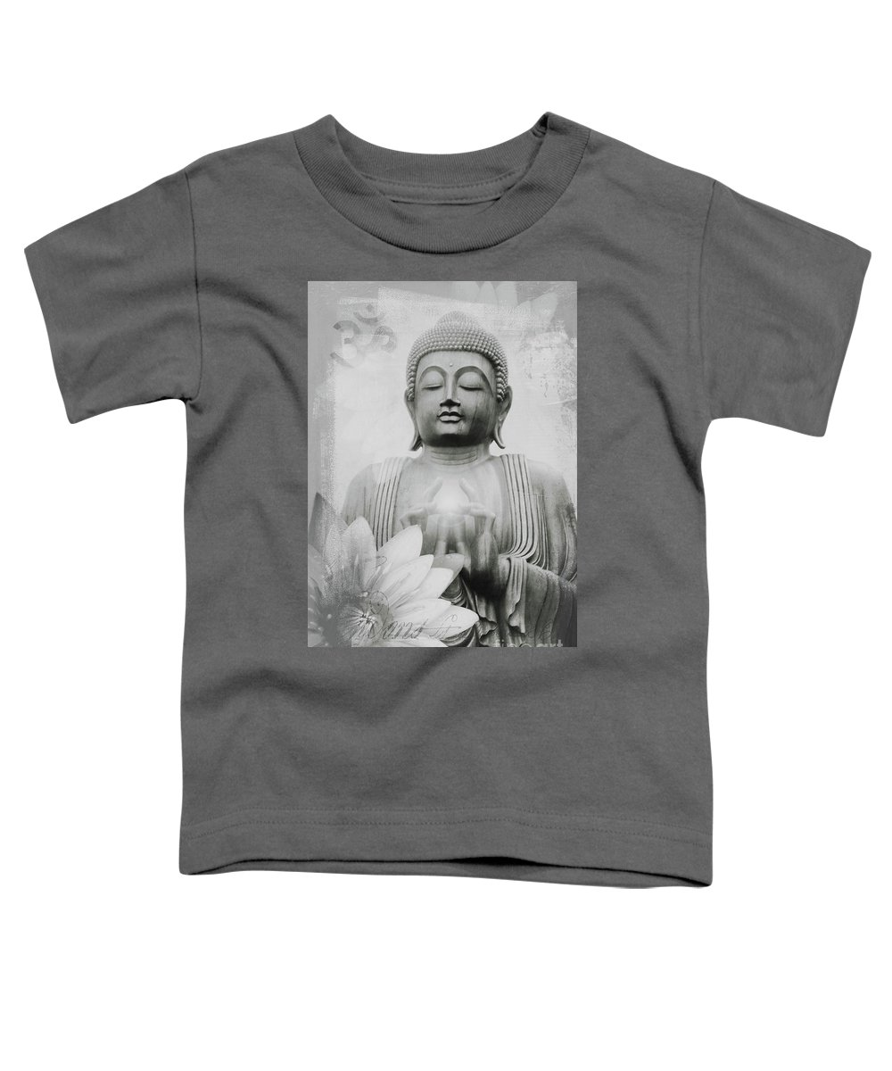 Altruistic Toddler T-Shirt featuring the mixed media Om Mani Padme Hum Monochrome by Sharon Mau