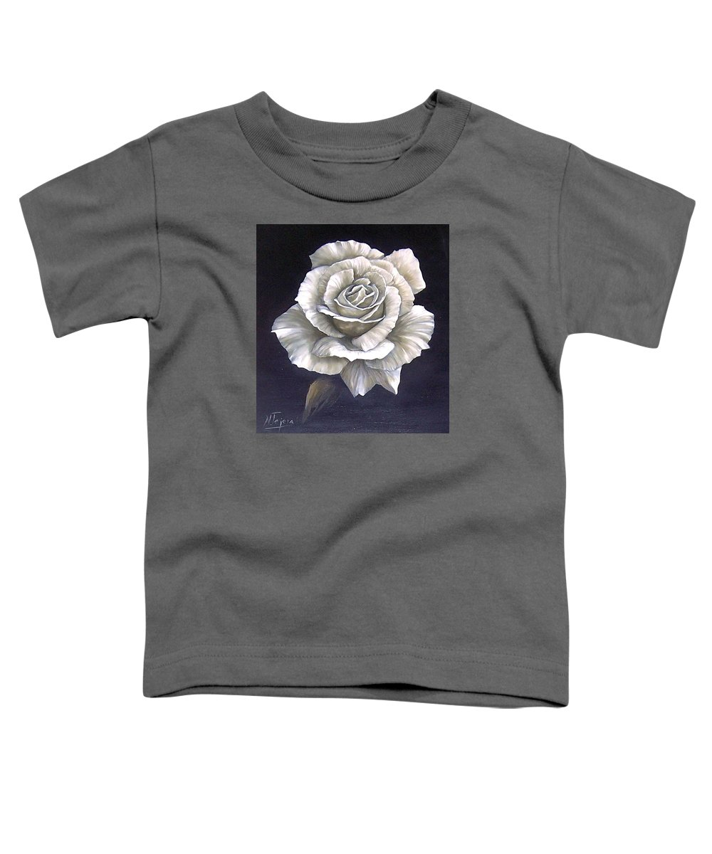 Rose Flower Toddler T-Shirt featuring the painting Opened Rose by Natalia Tejera