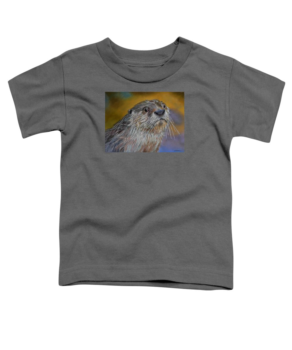 River Otter Toddler T-Shirt featuring the painting Otter Or Not by Ceci Watson