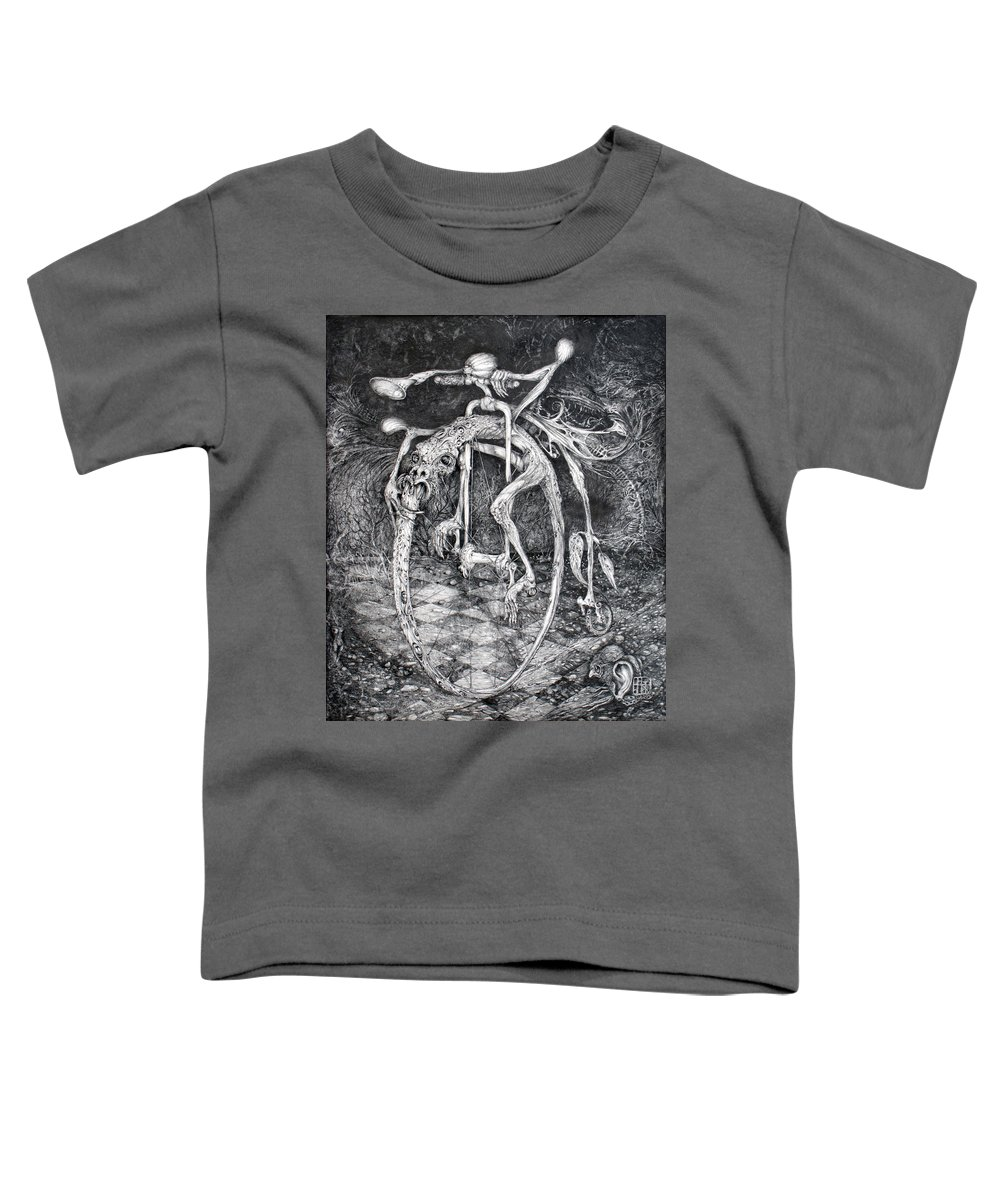 Ouroboros Toddler T-Shirt featuring the drawing Ouroboros Perpetual Motion Machine by Otto Rapp