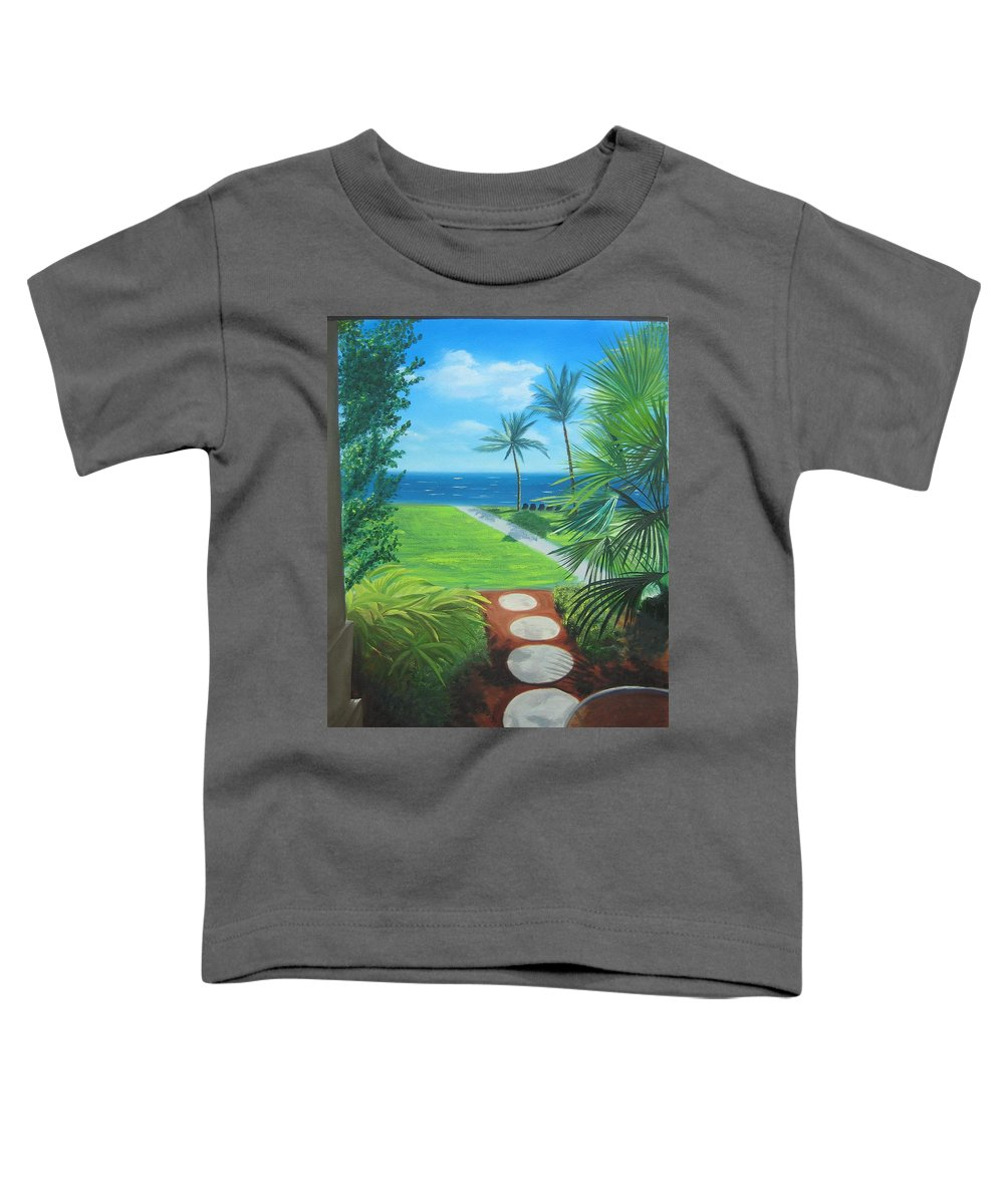 Seascape Toddler T-Shirt featuring the painting Paradise Beckons by Lea Novak