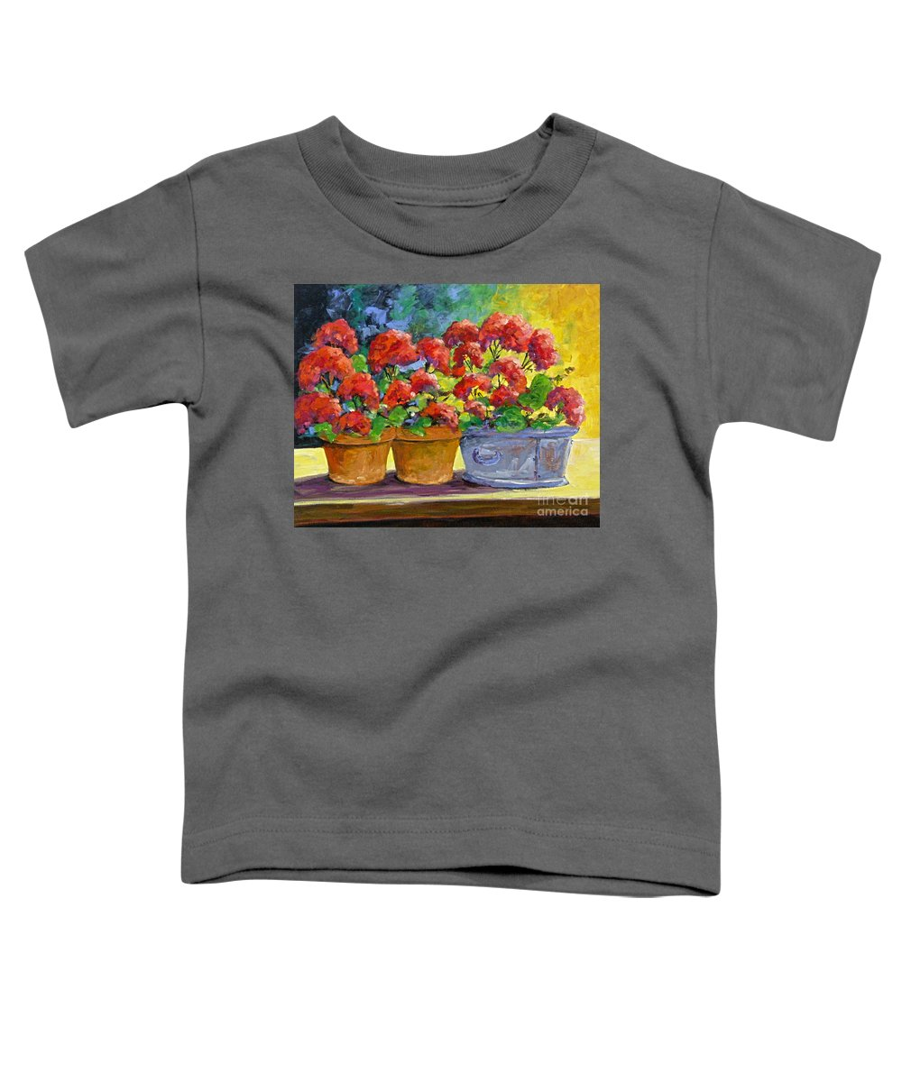 Still Life; Geraniums; Flowers; Terra Cotta; Red; Blue; Yellow; Green; Pranke; Toddler T-Shirt featuring the painting Passion In Red by Richard T Pranke