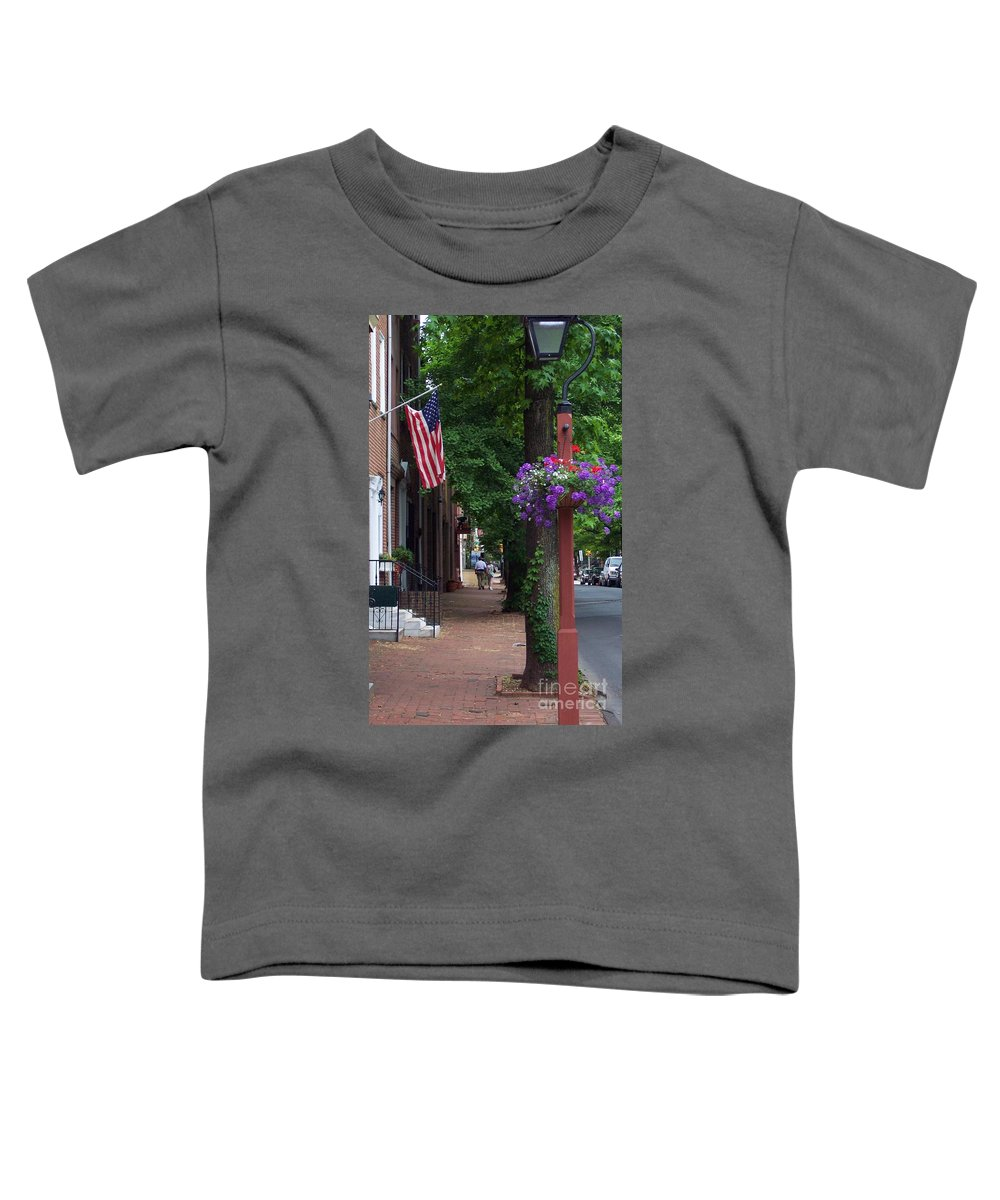 Cityscape Toddler T-Shirt featuring the photograph Patriotic Street In Philadelphia by Debbi Granruth