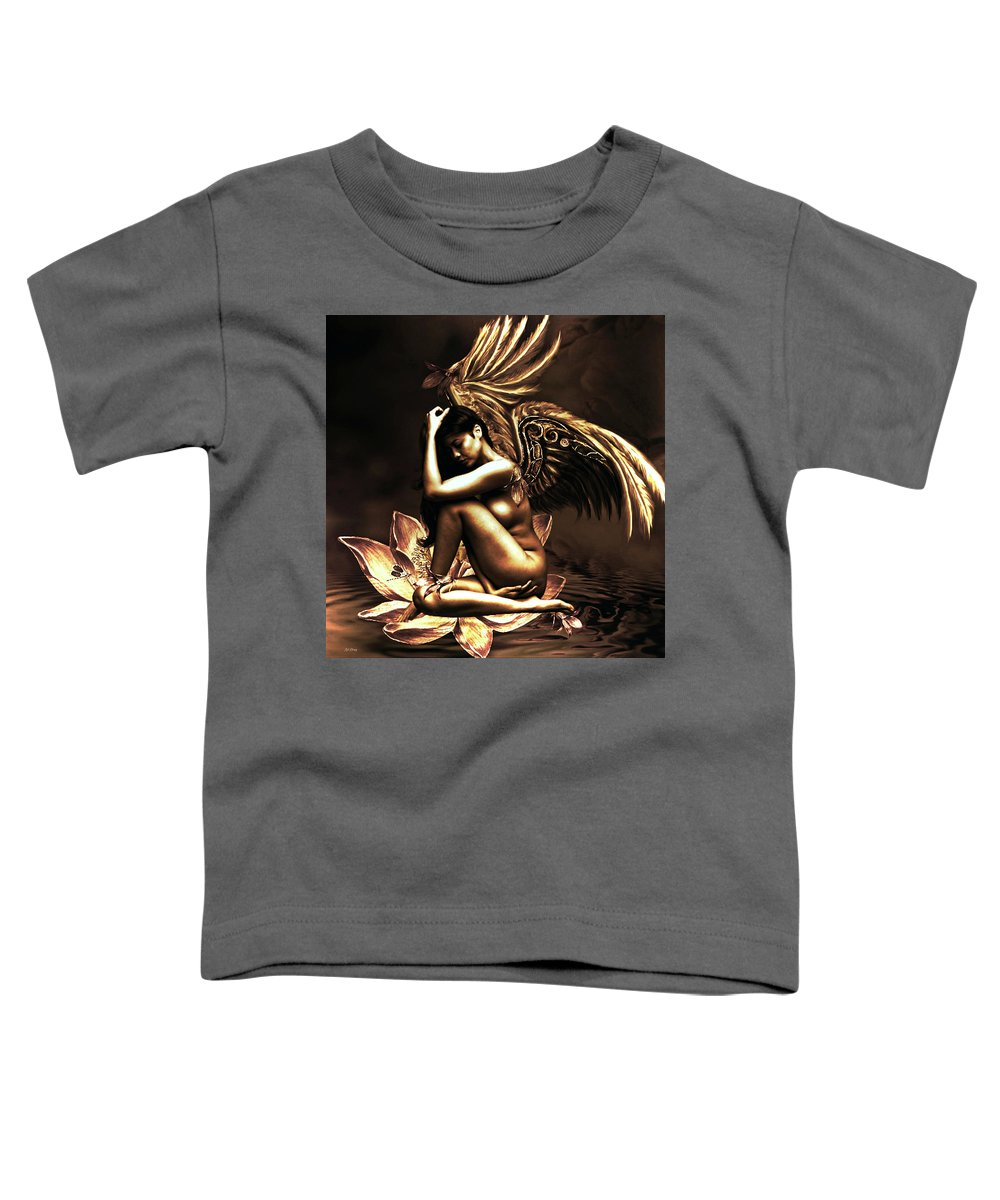 Gold Toddler T-Shirt featuring the mixed media Peaceful Contentment 02 by G Berry