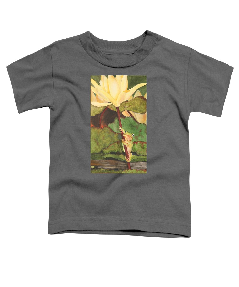 Frog Toddler T-Shirt featuring the painting Peeping Tom by Jean Blackmer