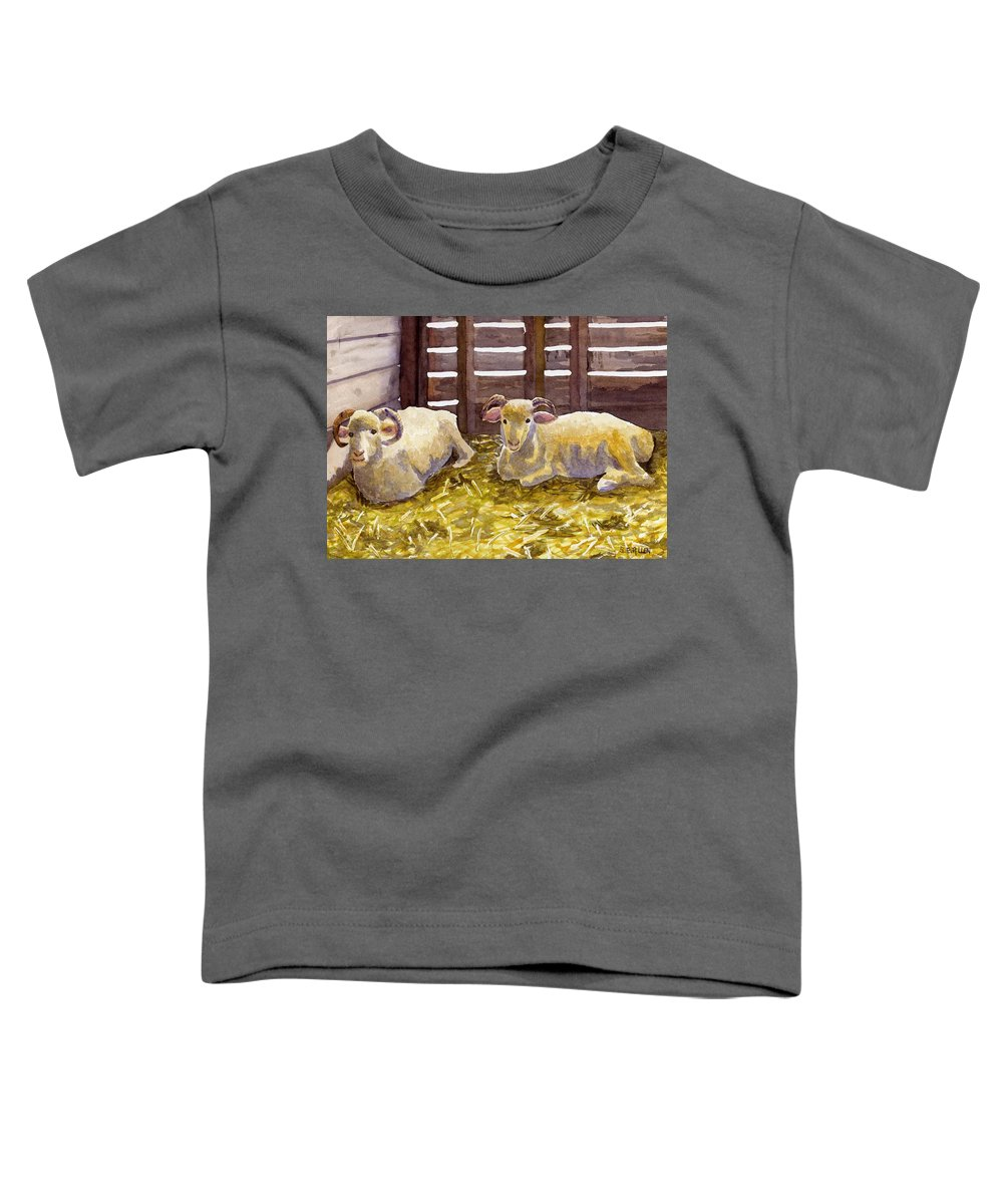 Sheep Toddler T-Shirt featuring the painting Pen Pals by Sharon E Allen