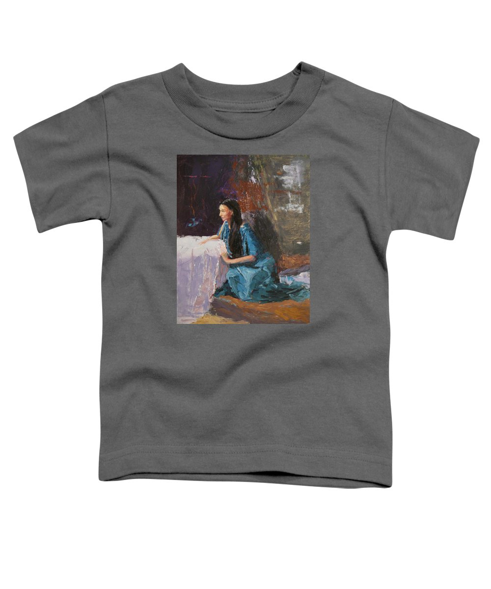 Sitting Woman Toddler T-Shirt featuring the painting Penelope by Irena Jablonski