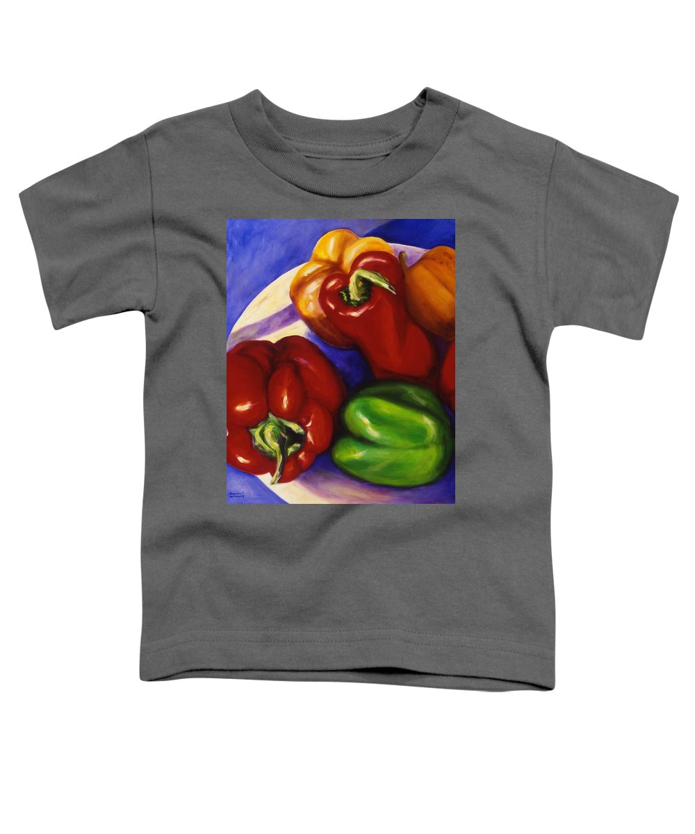 Still Life Peppers Toddler T-Shirt featuring the painting Peppers In The Round by Shannon Grissom