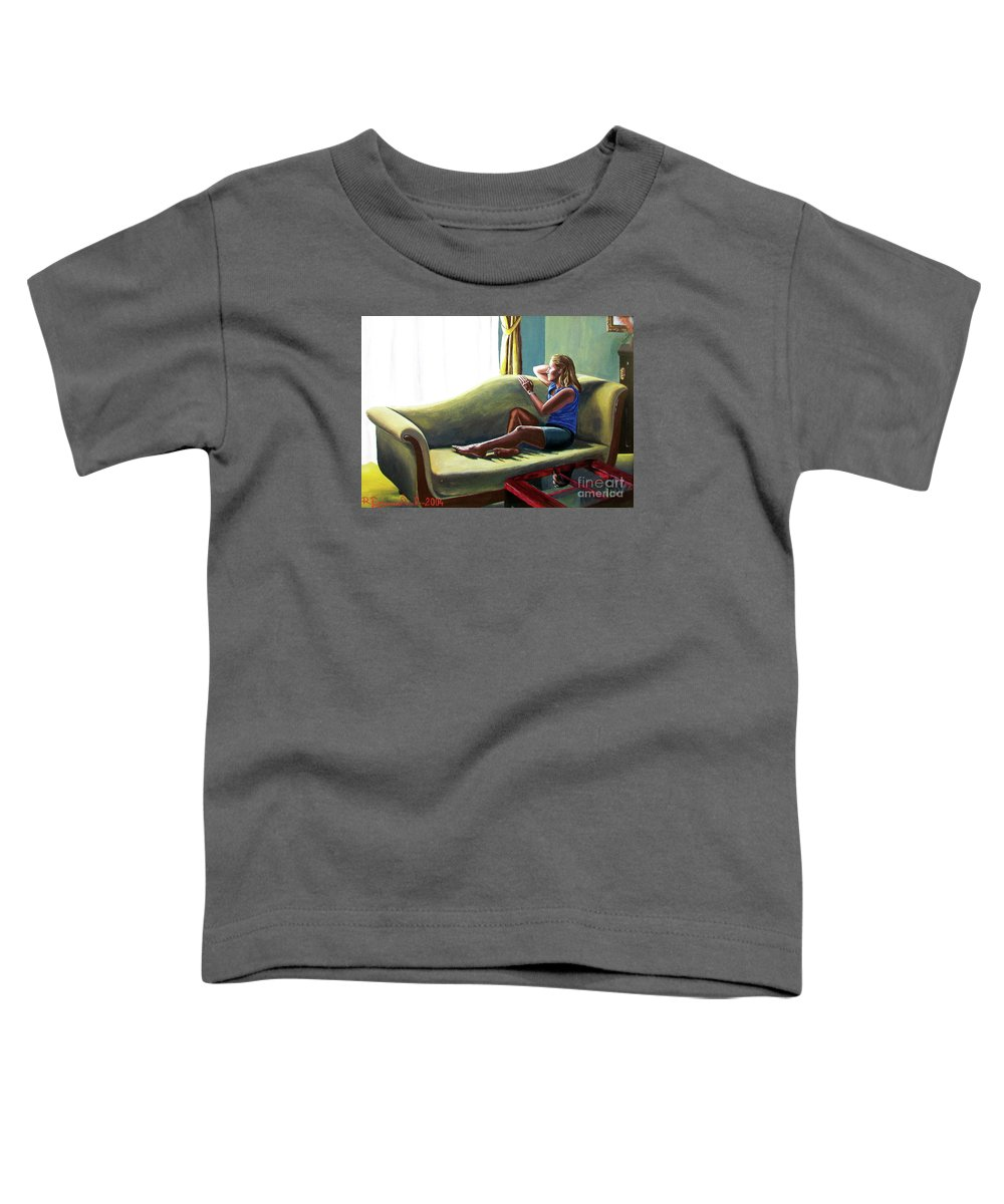 Figure Toddler T-Shirt featuring the painting Perfect Waiting - Esperar Perfecto by Rezzan Erguvan-Onal