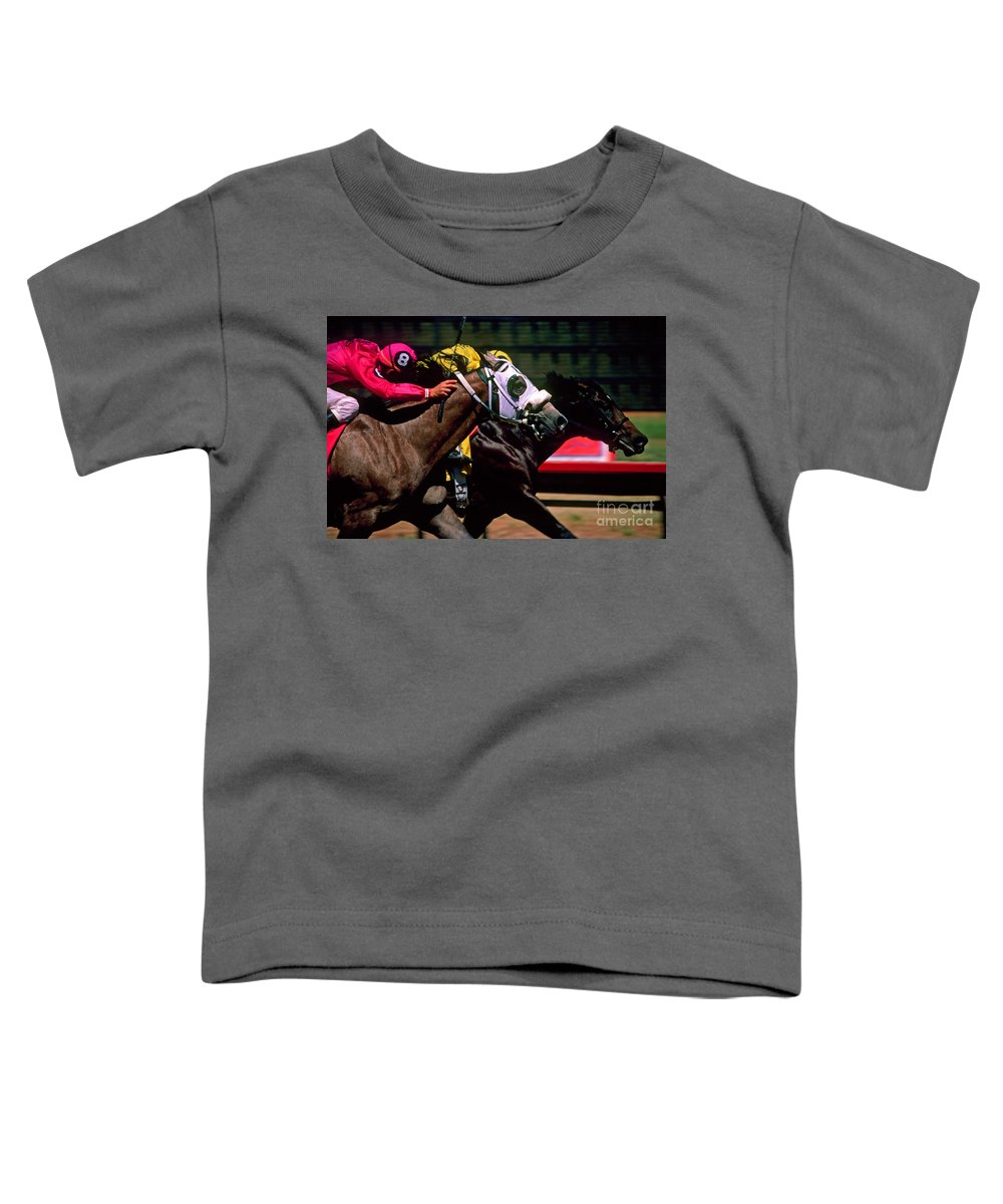 Horse Toddler T-Shirt featuring the photograph Photo Finish by Kathy McClure