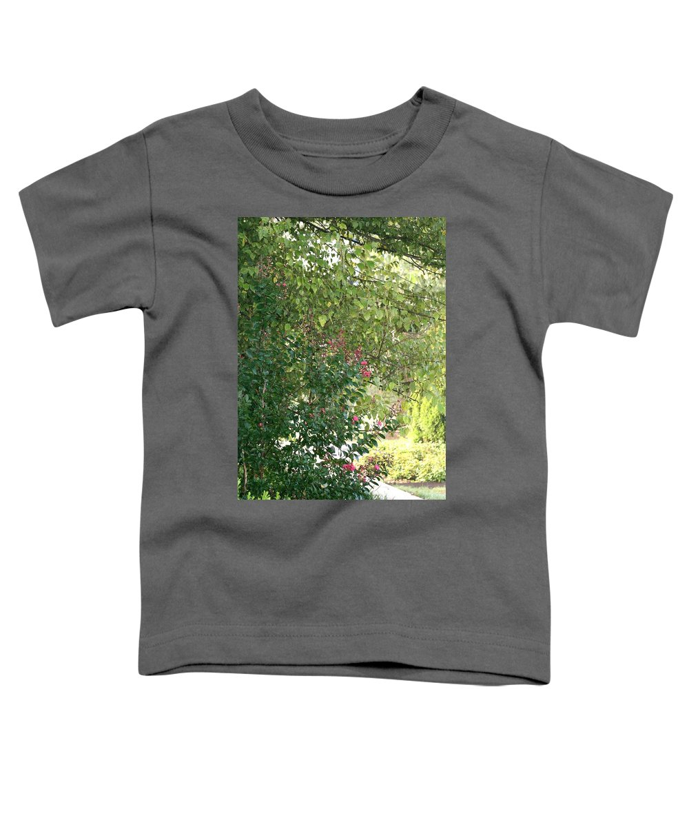 Path Toddler T-Shirt featuring the photograph Pink And Green Path by Nadine Rippelmeyer