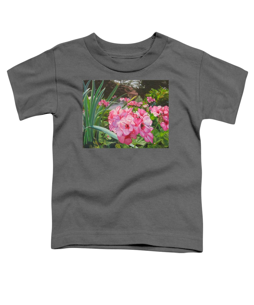 Pink Geraniums Toddler T-Shirt featuring the painting Pink Geraniums by Lea Novak