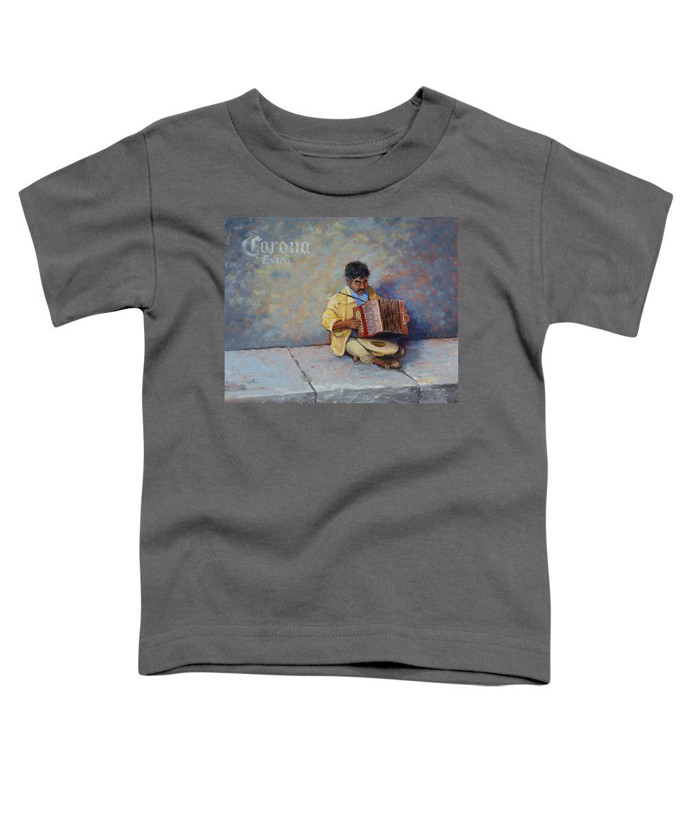 Mexico Toddler T-Shirt featuring the painting Playing For Pesos by Jerry McElroy