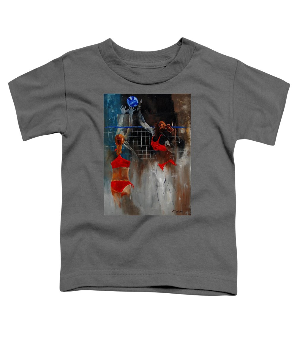 Sport Toddler T-Shirt featuring the painting Playing Volley by Pol Ledent