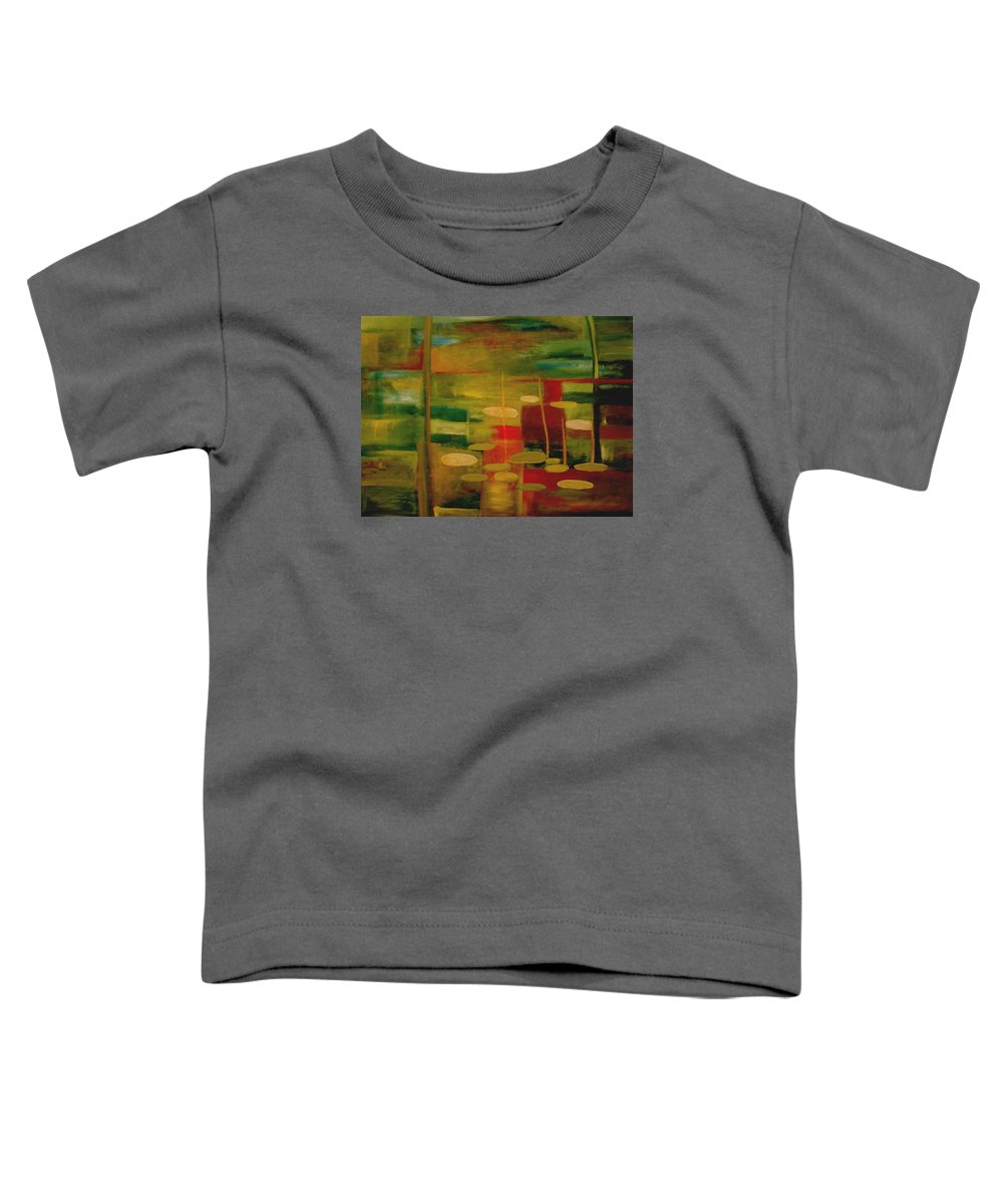 Pond Toddler T-Shirt featuring the painting Pond Reflections by Jun Jamosmos
