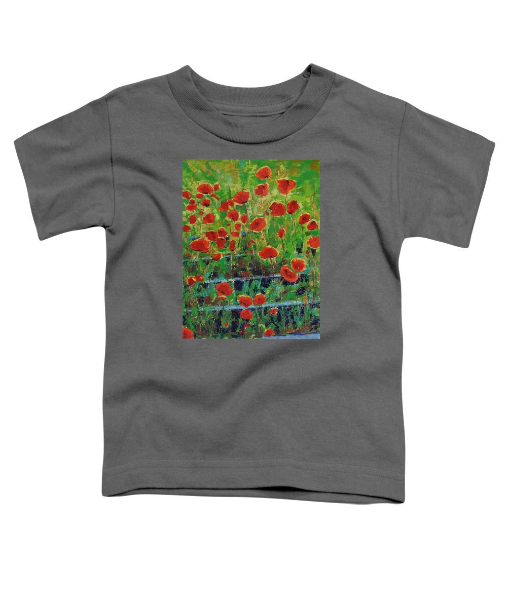Poppies Toddler T-Shirt featuring the painting Poppies And Traverses 1 by Iliyan Bozhanov