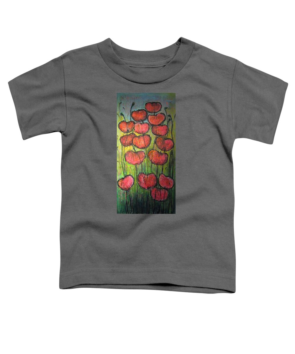 Poppies Toddler T-Shirt featuring the painting Poppies In Oil by Laurie Maves ART