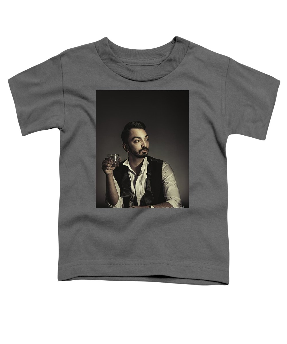 Portrait Toddler T-Shirt featuring the photograph Portrait Of Man With Drink by Amanda Elwell