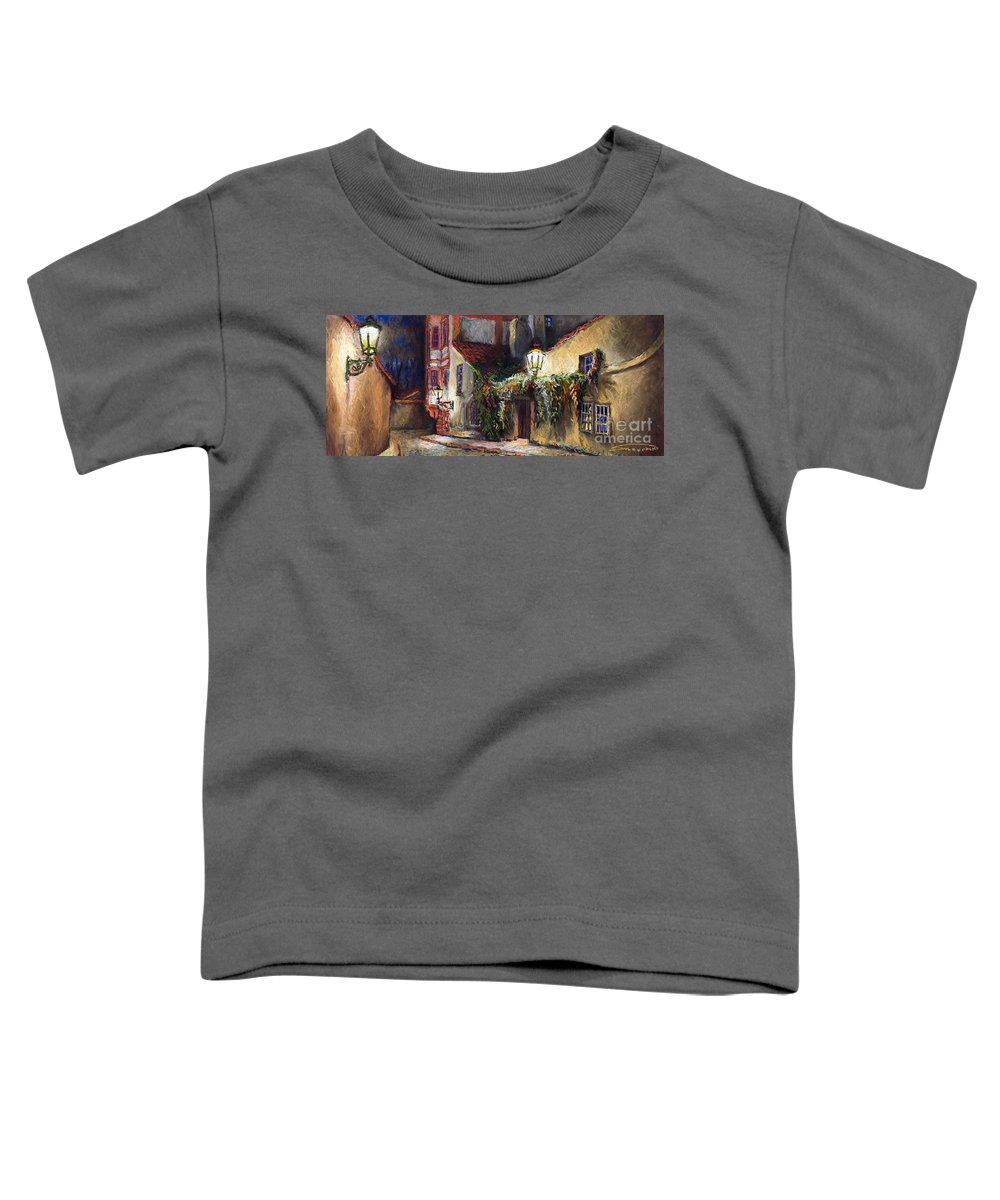 Prague Toddler T-Shirt featuring the painting Prague Novy Svet Kapucinska str by Yuriy Shevchuk