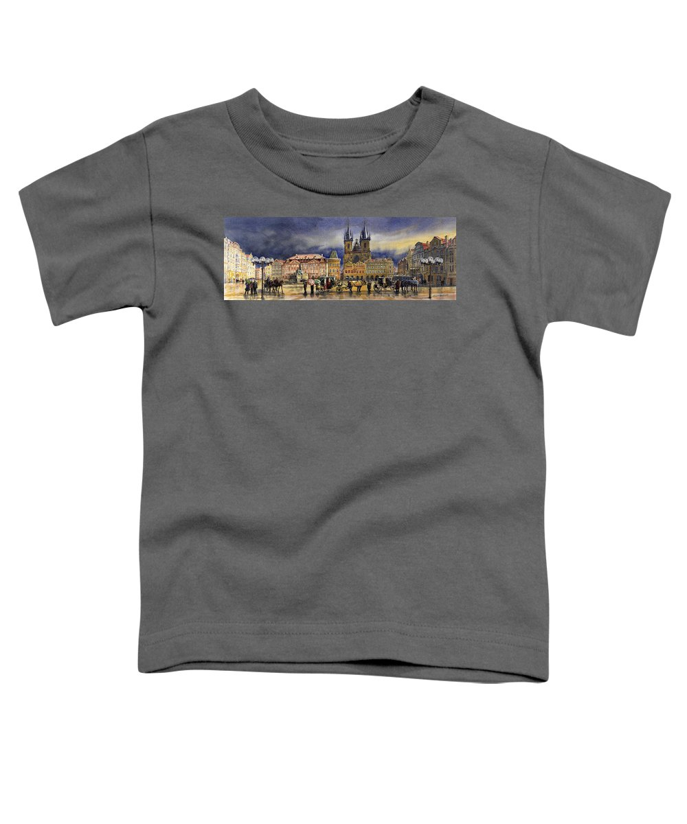 Watercolor Toddler T-Shirt featuring the painting Prague Old Town Squere After rain by Yuriy Shevchuk
