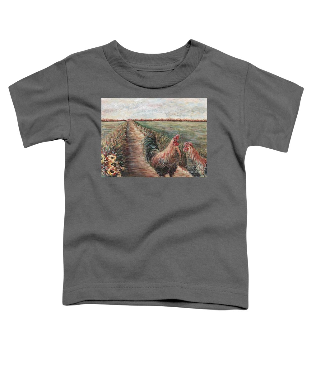 Provence Toddler T-Shirt featuring the painting Provence Roosters by Nadine Rippelmeyer