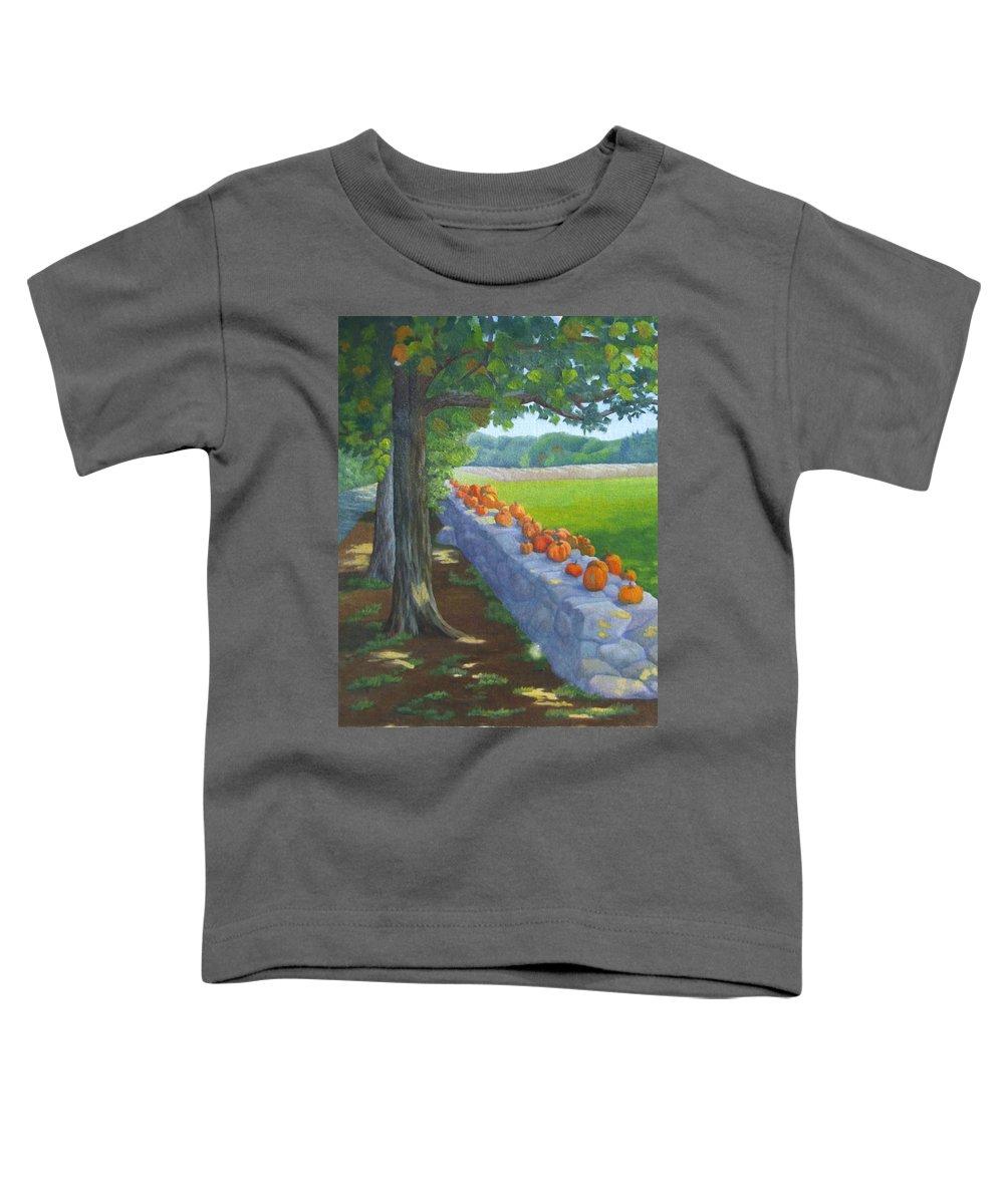 Pumpkins Toddler T-Shirt featuring the painting Pumpkin Muster by Sharon E Allen
