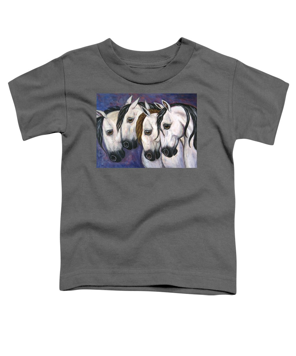 Horse Painting Toddler T-Shirt featuring the painting Purple Haze by Frances Gillotti
