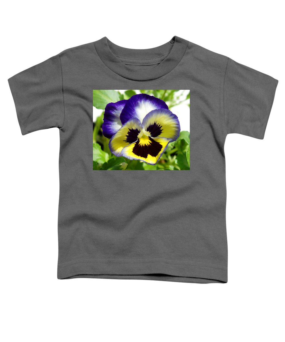 Pansy Toddler T-Shirt featuring the photograph Purple White And Yellow Pansy by Nancy Mueller